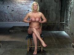Nasty blonde Cherry Torn proves that she is a bad girl. She lets some dude tie her up and endures all kinds of torments.