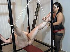 Very fat nanny being humiliated and fucked in bondage scene