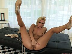 Salacious blonde milf Nicki Hunter shows her hot ass to some guy and strokes her body. Then she takes his schlong into her mouth and sucks it till it explodes with jizz.