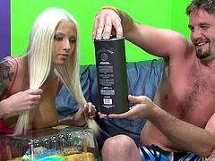 She is a fucking hot blonde with big round boobs and hard nipples that are waiting to be sucked hard. After some chit-chat she puts her ass on the couch, making space for her guy to come and lick her cunt. Look at her face and you will know how much fun she has right now. Watch!