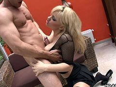 This blonde mature woman is enjoying the nice weather outside. She spreads her legs and masturbates. Watch as she puts on a great show. Her man fingers her and eventually he gets his whole fist up her loose cunt. This naughty mature slut is craving cock and she sucks his stiff weiner.