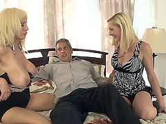 Hardcore threesome action as this good mothers teachers her daughter how to suck cock. staring Isabella Rossa and Rylie Richman. An awesome fantasy as this lucky man has these two blonde babes sucking on his excited dick.
