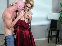 Hunk Johnny loves blonde classy milfs and here's one! She has sensual golden hair, sexy lips and a big hot booty, that lures Johnny. He goes nuts for her and when this bitch kneels to suck him, the guy fed her his dick and then, wants that hot juicy pussy. Wanna see some more?