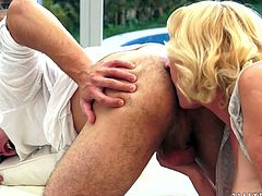 Perverse beefy dude is a fan of flamboyant ruined grannies. He pokes a ruined hairy vagina missionary before he polishes it with his tongue. Later he keeps fucking in doggy position having a perfect chance to take a closer look at oversized cellulite ass.