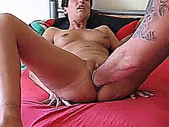 Extreme amateur wife has her huge vagina fisted by her husbands giant hands till she screams in orgasm