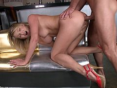 Sexy blonde with nice peachy tits enjoys cowgirl fuck. She rides dick intensively and masturbates her pussy for the best ever orgasmic effect.