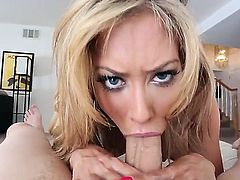 Capri Cavalli slurping on a huge thick penis