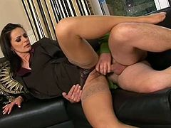 Be pleased with hussy brunette who prefers clothed sex. For this ones she serves her boss at the highest level. Enjoy her shaved pussy in missionary style from behind.