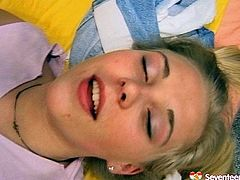 Fresh faced blond Russian amateur gives thorough blowjob to strain dick climbing on a horny dude in pose 69 before he takes her in doggy style in sultry sex video by Seventeen Video.