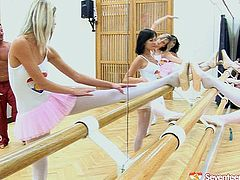 Lots of hot pretty and lissom ballerinas know how to relax after the dance practice. Zealous wondrous nymphos in tutus, pantyhose and pointe shoes meet a new dance teacher and lure him for sex right in the practice room. Zealous gals with natural small tits come closer to give lucky dude a solid blowjob.