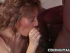 Summer Rose has her mouth stuffed by a massive black cock at first, but then he switches to her hairy pussy.