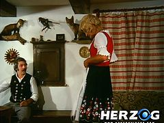 In this classic porno video, a German farmer is having supper with his wife and their neighbours. Once the neighbours leave, he throws his wife on the table and fucks her hard in her incredibly hairy cunt.