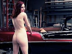 In this video you will see an amazing chick in different scenes. She poses naked in a car workshop. Then she also poses with a pistol and a sword.