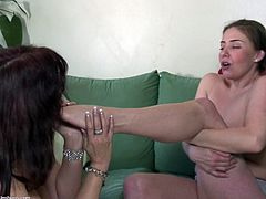 These two lesbians engage in some hot foreplay. The old one sucks on the young one's toes and then pulls her panties aside to play with her pussy and ass crack. The young girl loves sucking the puffy nipples of the old lesbian.