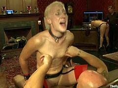 Filthy blonde Dylan Ryan is having fun with a few people indoors. She gives a blowjob to Derrick Pierce and then lets him pull her by the nipples and destroy her juicy cunt.