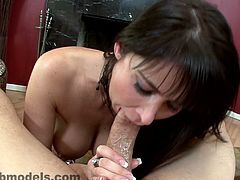 Eva Karera is nasty and eager to swallow after sucking this guy in wild POV