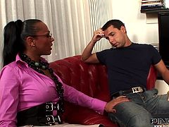 Samantha is helping her student with his studies. He gets a reward and she lets him suck on her meaty member. The shemale pulls out her massive tits and grabs his cock through his jeans. Then, she pulls down her skirt and he wraps his lips around her tranny pecker.