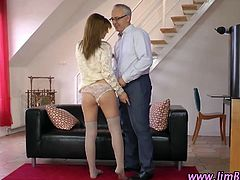 Amateur in stockings sucks and fucks nasty old dude in hd