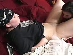 Ample tattooed biker chic seduces another filthy slut. She forces her to tongue fuck her tasty cunt before she uses her hands to keep stimulating her aroused vagina.