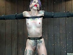 What a nasty and dirty minded sex slave is getting abused in this BDSM porn scene. She gets tied up in some devices and her flexibility helps her to stand the pain!