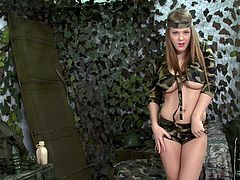 Amazing busty light haired gal is in the army camp. This too spoiled light haired cadet gonna relax a bit. Luckily curvy pale chick has a black dildo to tease her pussy passionately. Check out soldier with big boobs in DDF Network sex clip to jerk off and jizz at once.