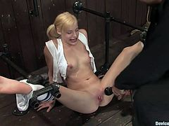 Blondie tied up and abused in bondage scene
