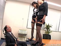 Stunning Japanese office chicks go wild during meeting with their boss. They give him a blowjob and a titjob. Later on the also get fucked cowgirl right in a conference hall.