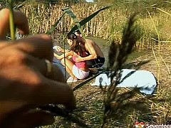 Thirsting for cum kinky gal lures a fisherman for a casual sex right near the river. Spoiled slender chick in short skirt squats down and demonstrates her skills in giving a solid blowjob for sperm outdoors.