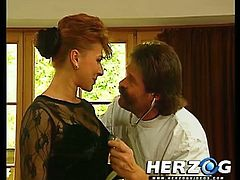 Watch a horny Bavarian brunette drilling her hairy clam with a carrot and a cucumber in this hot vintage video. That leaves her ready for a good fuck. Then see another kinky babe giving her man a hell of a handjob in the barn.