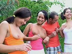 Naughty girls are going wild and dirty at the outdoor party. They flash their tits seducing guys for dirty orgy. Then they all are screwed bad in their cunts in different fuck positions. While some of the girls are sucking hard big white cock giving awesome double blowjob, others are brutally banged in doggy style fucking outdoor.