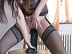 This extreme amateur milf needs colossal dildos to stretch her hole enough to satisfy her