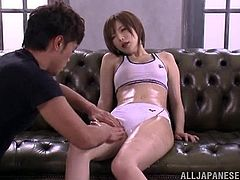 Slim Japanese hottie Yuria Satomi allows some dude to oil and rub her nice body. Then the dude pleases the chick with fingering and pounds her pussy with a dildo.
