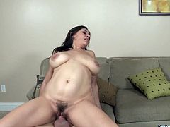Extremely seductive brunette Raylene needs at least two cocks to satisfy her hunger for sex. While one stud drills her muff in doggy position, curvaceous harlot with big tits starts sucking the other pecker for juicy cum.