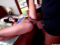 Skilful and seductive black haired Nikki Daniels with arousing heavy make up and long sexy legs gives head to tall black dude with stiff monster cock and gets boned deep
