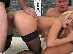 Two studs get busy with drilling the holes of slutty blondie in black stockings. Horny hot chick with rounded ass and natural tits loves threesome, cuz she enjoys sucking dicks for sperm. Tough anal fuck from behind will be more than perfect to reach orgasm at once.