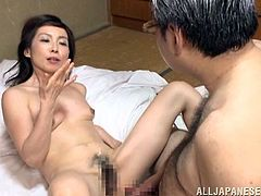 Nasty mature Japanese woman strips her clothes off and toys her vagina with a vibrator. Later on she gets her hairy pussy licked and fucked.