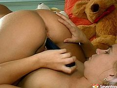 Two charming teen lesbos  test new dildo fellow