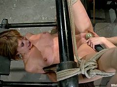 Horny Maitresse Madeline gets punished by her mistress. She gets her pussy fucked with the strap-on and ass toyed with big dildo.