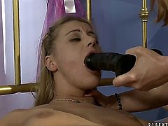 Blonde Nikky Thorne with giant breasts gets her hole licked out by Katy Parker