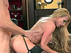 Jordan Ash has nice pounding with big boobed blonde bitch Taylor Wane. The blondie with massive juggs gives nice titjob before feeling dong into luscious vagina.