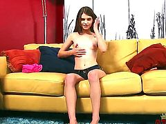 Amateur teen brunette Alice March with small titties and tight ass in red undies gets naked while teasing and stretches her pink honey pot to orgasm in living room.