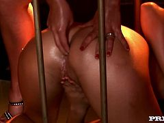 Cherry Jul and Zafira in great lesbian sex video. They pose naked for the camera and kiss. After that they lick each others pussies and toy their asses with metal dildo.