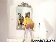 Stocking british milf Lady Sonia dancing and showing her ass
