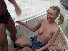 Leggy blonde teen wearing short jeans skirt is easy to persuade for sex fun. Dude washes her pussy and shaves it in the bath room before steamy sex.