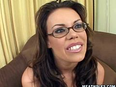 Kinky brunette with short hair gets humiliated on cam by spoiled man. He grabs her neck and face, takes off her glasses and jams her small ugly tits with fist nipples. Check her out in Pornstar sex clip to jerk off a bit for pleasure.