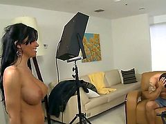 Black haired one of a kind bombshell Rebeca Linares with jaw dropping huge tits and sexy tattoo on tight ass sucks cock at the glory hole and fucks with tattooed dude.