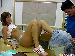 Skanky student leaves in a class for extra curriculum. Instead of teaching the girl horny mature teacher seduces the girl for sex. He thrusts his cock in front of her pretty face ordering to suck it deepthroat. The gal is such a slut so she starts sucking dick with pleasure.