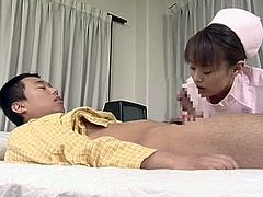 Hot japanese in sexy uniform enjoys sucking cock and swallowing its juice
