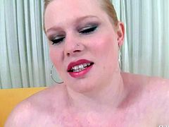 Pale skinned buxom lady Veronika F plays with her pink