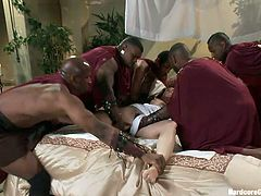 Milky white Bella is a pussy from the high class. She was never treated with disrespect until these guys showed her what real men are capable of. They've entered her room, threw her on the bed and started to fuck her. The fragile princess didn't stood a chance in front of these hunks and got ganged banged hard.